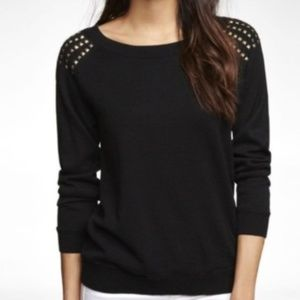 Express Black sweater with gold studded shoulders